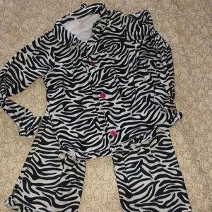 Carters 7 super soft zebra pajamas button top euc